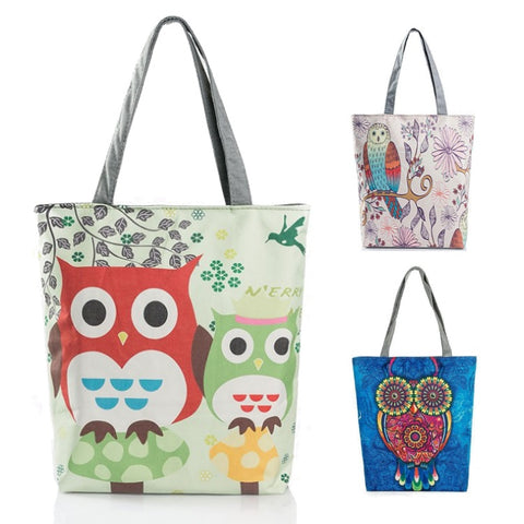 "Cute Owl Print Shoulder / Tote Bag (15"")"