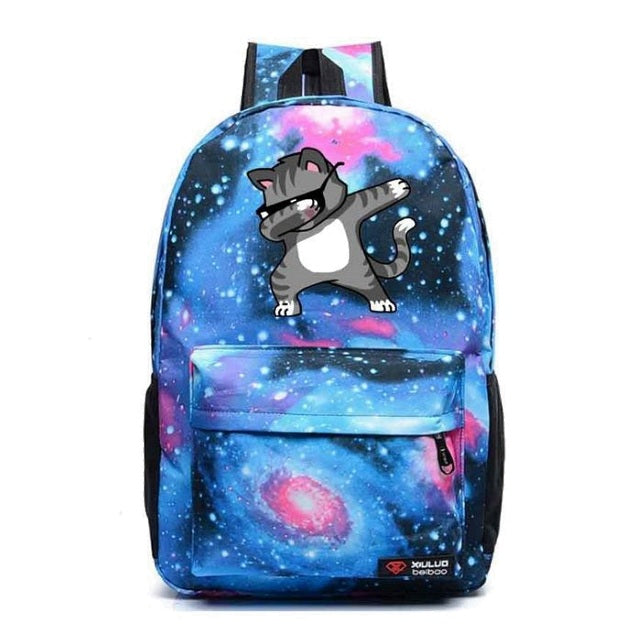 Blue Dabbing Cat Backpack