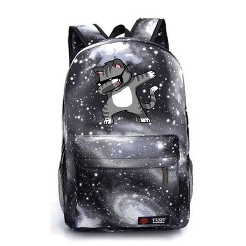 Gray Dabbing Cat Book Bag