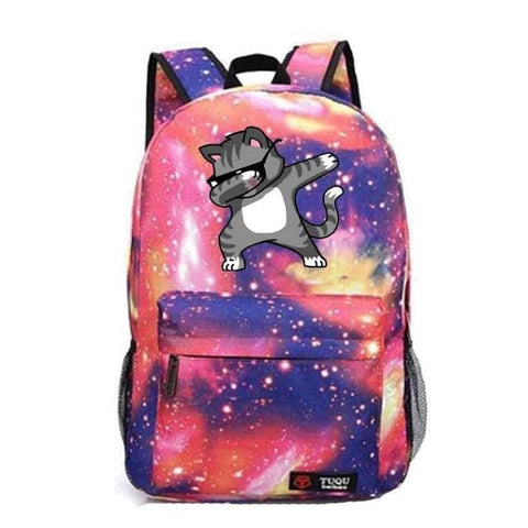 Outer Space Dabbing Cat Backpack