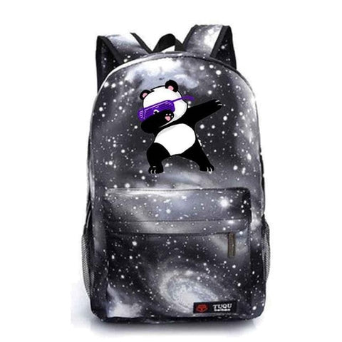 Canvas Dabbing Panda Space Backpack
