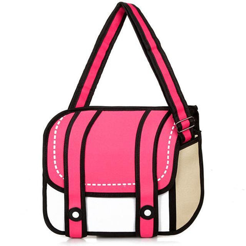 Red 2D Cartoon Shoulder Bag