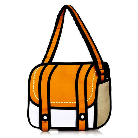 Orange 2D Cartoon Messenger Bag
