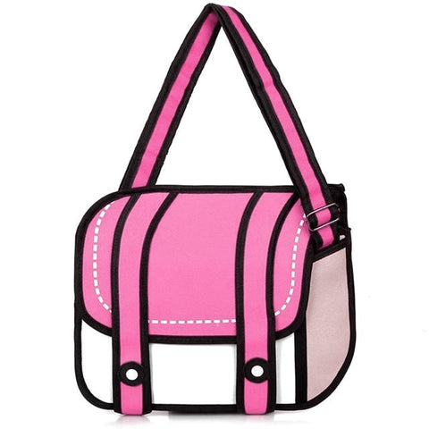 Pink 2D Cartoon Messenger Bag