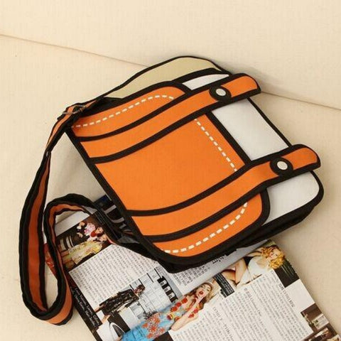 Dual Button 2D Cartoon Messenger Bag
