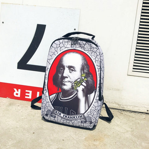 "Funny Air Franklin Hip-Hop Style Backpack (17"")"