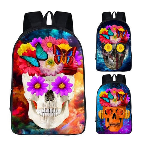 Funny Flower Skull Print Backpack