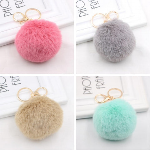 Fluffy Pom Pom Keychain / Bag Charm (Gold)