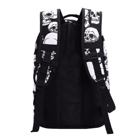 Back of White Skull Backpack