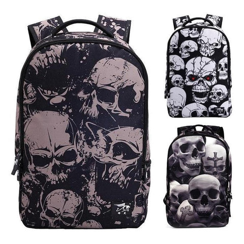 Wrap-Around Gothic Skull Print Backpack