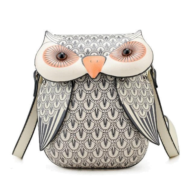 Mini Gray Owl Messenger Bag
