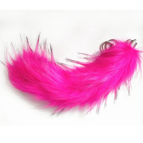 Multi-Colored Faux Raccoon Tail Keychain / Bag Charm Hot-Pink