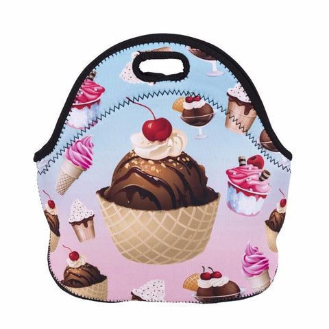 Insulated Neoprene Ice Cream Pattern Lunch Bag