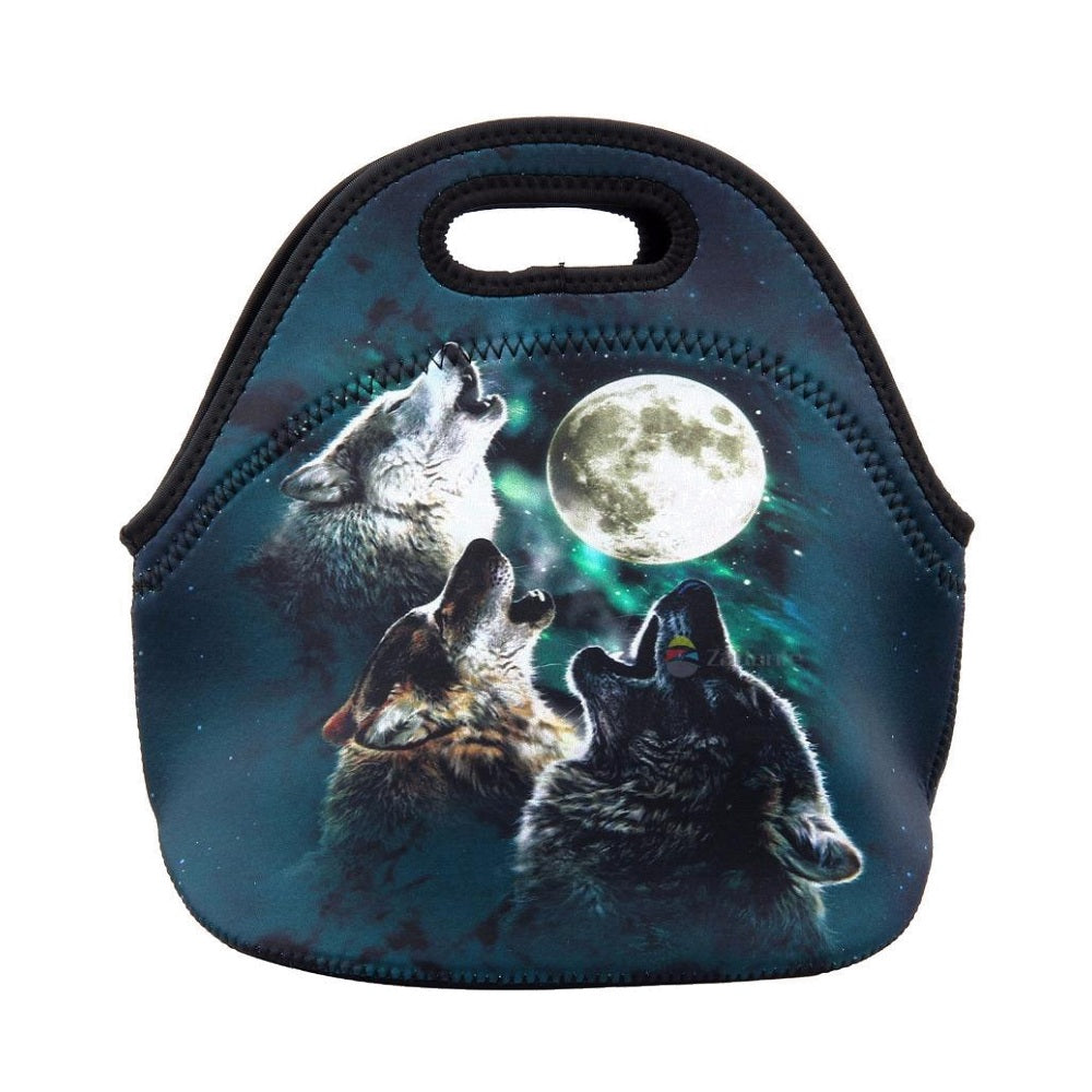 Insulated Neoprene Howling Wolf Lunch Bag