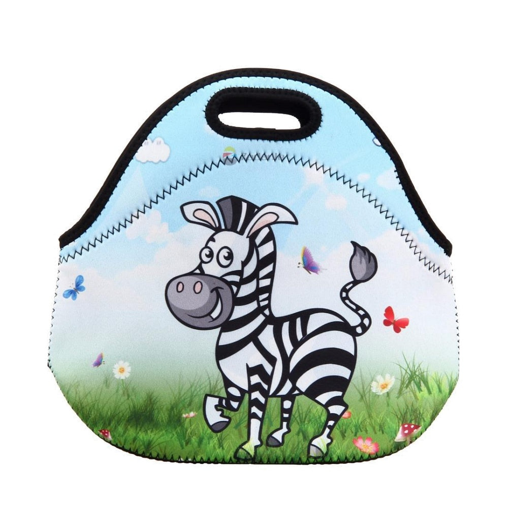 Cute Insulated Neoprene Zebra Lunch Bag