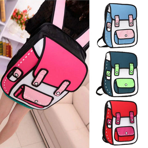 Large 2D Cartoon Jump Style Backpack