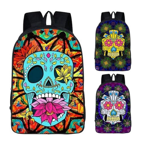 Funky Mexican Skull Print Backpack