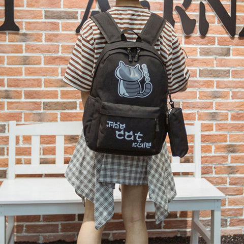 "Neko Atsume Anime Cat Backpack (18"") w/ Pencil Bag"