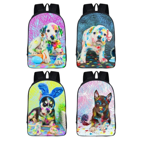 Colorful Painting Puppy Dog Backpack