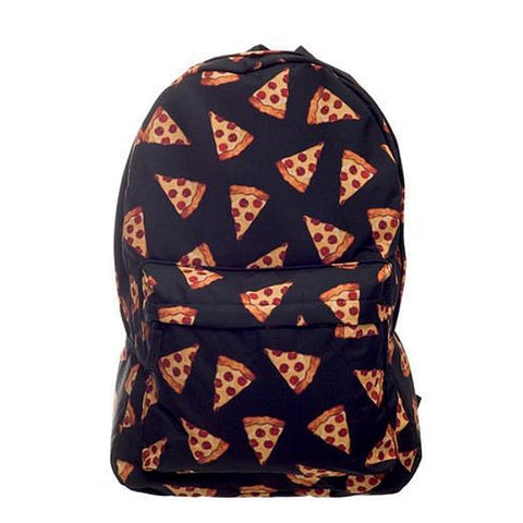 Black Pizza Print Backpack
