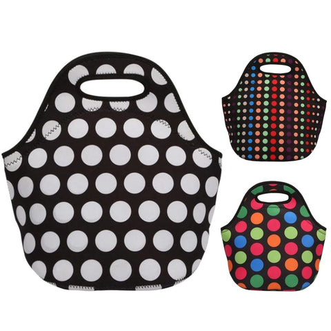 Insulated Neoprene Polka Dot Pattern Lunch Bag