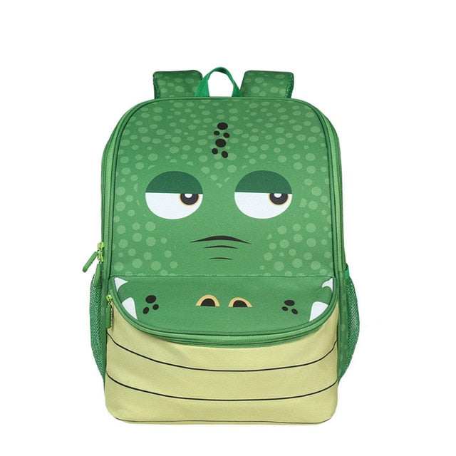 "Kids 3D Cartoon Animal Face Backpack (16"") Alligator"