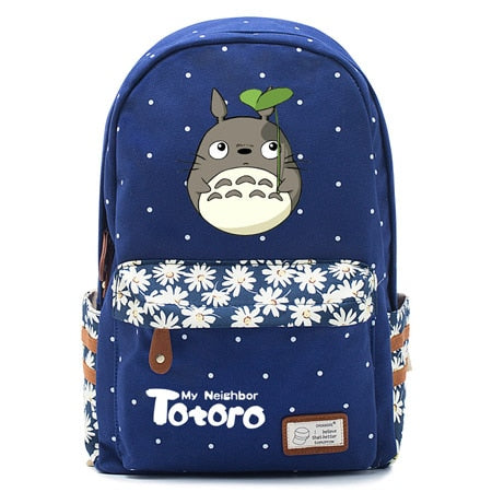 "Totoro Anime Backpack w/ Flowers (17"") Navy / Style 1"