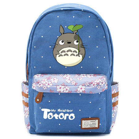 "Totoro Anime Backpack w/ Flowers (17"") Blue / Style 1"