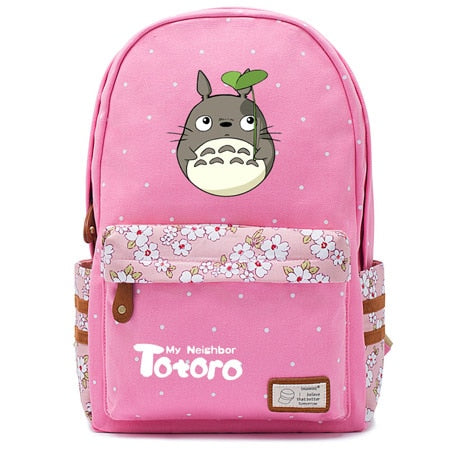 "Totoro Anime Backpack w/ Flowers (17"") Pink / Style 1"