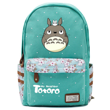 "Totoro Anime Backpack w/ Flowers (17"") Teal / Style 2"