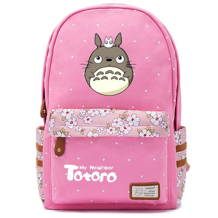 "Totoro Anime Backpack w/ Flowers (17"") Pink / Style 2"