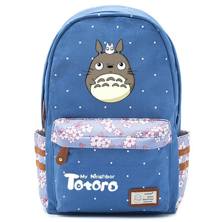 "Totoro Anime Backpack w/ Flowers (17"") Blue / Style 2"