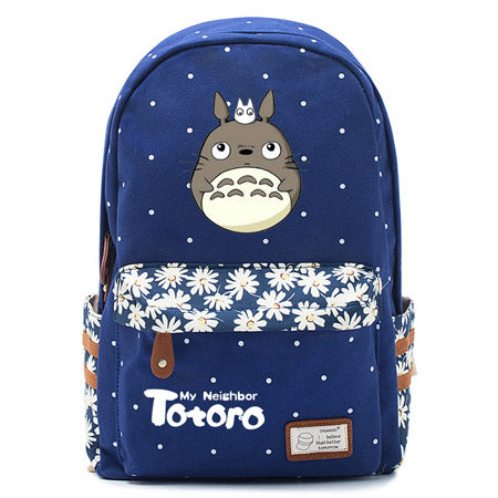 "Totoro Anime Backpack w/ Flowers (17"") Navy / Style 2"