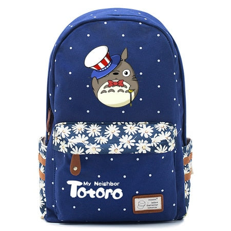 "Totoro Anime Backpack w/ Flowers (17"") Navy / Style 3"