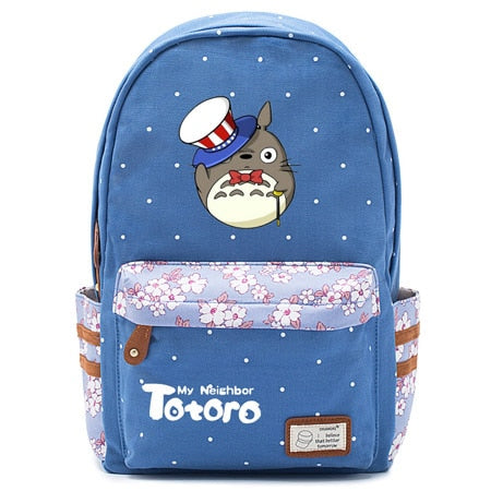 "Totoro Anime Backpack w/ Flowers (17"") Blue / Style 3"