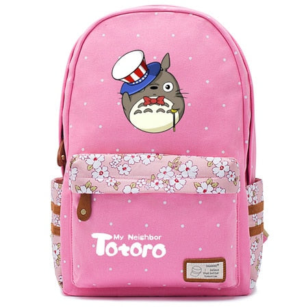"Totoro Anime Backpack w/ Flowers (17"") Pink / Style 3"