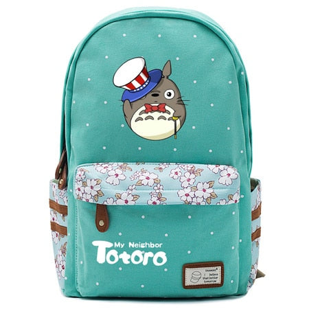 "Totoro Anime Backpack w/ Flowers (17"") Teal / Style 3"