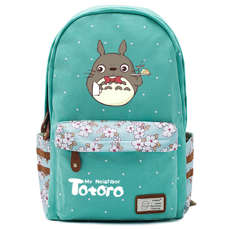 "Totoro Anime Backpack w/ Flowers (17"") Teal / Style 4"