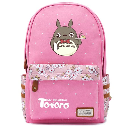 "Totoro Anime Backpack w/ Flowers (17"") Pink / Style 4"