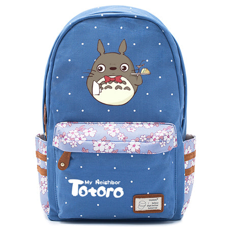 "Totoro Anime Backpack w/ Flowers (17"") Blue / Style 4"