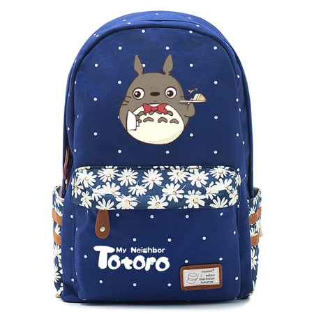 "Totoro Anime Backpack w/ Flowers (17"") Navy / Style 4"