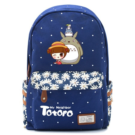 "Totoro Anime Backpack w/ Flowers (17"") Navy / Style 5"