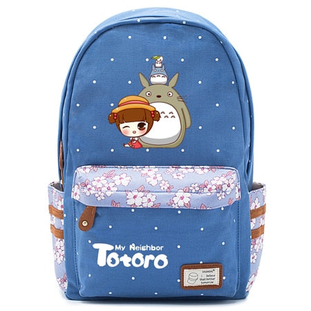 "Totoro Anime Backpack w/ Flowers (17"") Blue / Style 5"