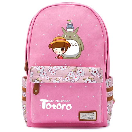 "Totoro Anime Backpack w/ Flowers (17"") Pink / Style 5"