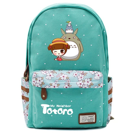 "Totoro Anime Backpack w/ Flowers (17"") Teal / Style 5"