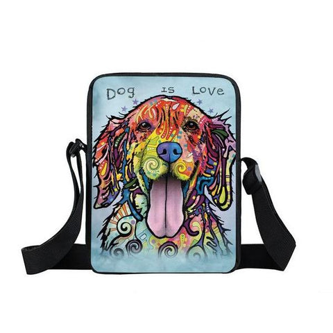 "Psychedelic Dog Print Mini Shoulder / Messenger Bag (9"") Lab 1 / Nylon"