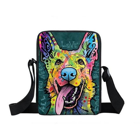 "Psychedelic Dog Print Mini Shoulder / Messenger Bag (9"") German Shepard 1 / Nylon"