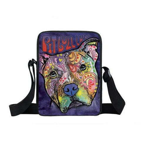 "Psychedelic Dog Print Mini Shoulder / Messenger Bag (9"") Pitbull 1 / Nylon"