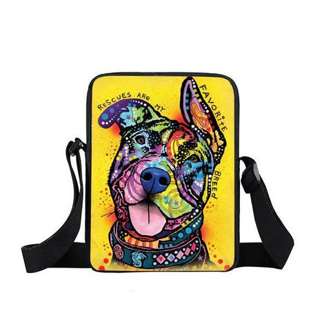 "Psychedelic Dog Print Mini Shoulder / Messenger Bag (9"") Rescue 1 / Nylon"