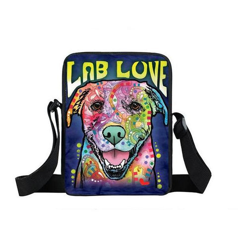 "Psychedelic Dog Print Mini Shoulder / Messenger Bag (9"") Lab 2 / Nylon"